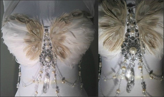 WHITE Swan Belly Dance Top 34 D / White Swan Feather and Silver Swarovski Crystal Dance top/ SACRED and PROFANE Love/ 015