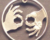 Interpreter ASL Cut Coin Jewelry
