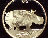 Hippo Dime Hand Cut Coin Jewelry