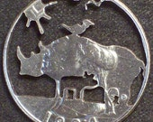 Rhino & Calf Hand Cut Coin Jewelry