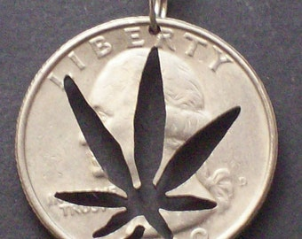 Cannabis Leaf Quarter Hand Cut Coin Jewelry