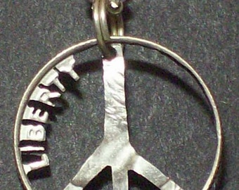 Peace Liberty Dime Hand Cut Coin Jewelry