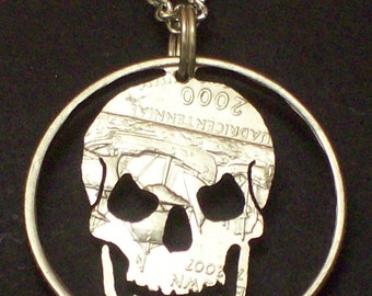 Skull Hand Cut Coin Jewelry