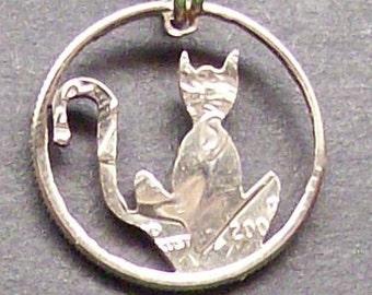 Cat Dime Cut Coin Jewelry