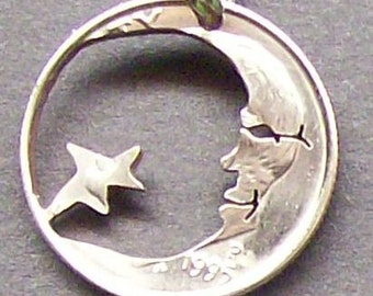 Moon & Stars Dime Hand Cut Coin Jewelry