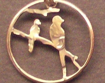 Birds On A Branch Dime Cut Coin Jewelry