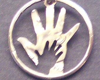 Hand In Hand Dime Cut Coin Jewelry
