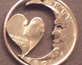 Moon With A Heart Quarter Cut Coin Jewelry