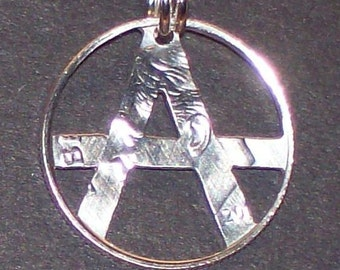 Anarchy Dime Hand Cut Coin Jewelry