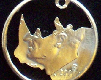 Rhino Dime Hand Cut Coin Jewelry