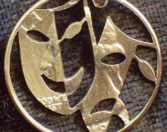 Comedy Tragedy Masks Hand Cut Coin Jewelry
