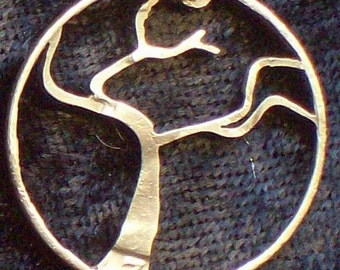 Tree Windswept Hand Cut Coin Jewelry