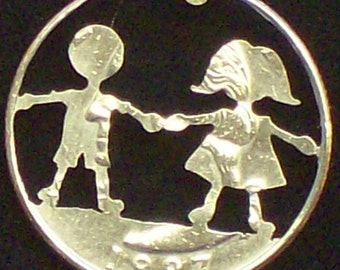 Children Friends Forever Hand Cut Coin Jewelry
