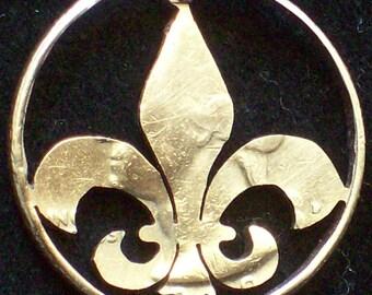 Fleur De Lis Hand Cut Coin Jewelry