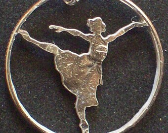 Ballerina Hand Cut Coin Jewelry