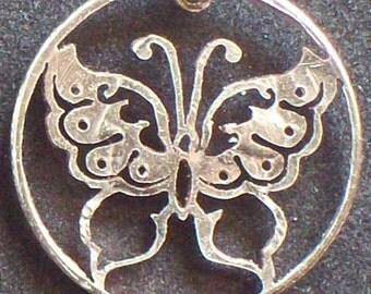 Butterfly Hand Cut Coin Jewelry