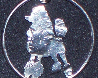 Dog Poodle Hand Cut Coin Jewelry