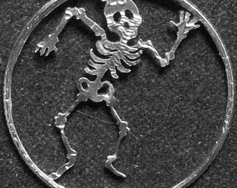 Skeleton Hand Cut Coin Jewelry