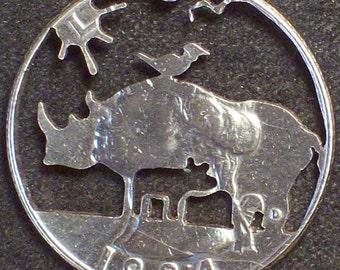 Rhino & Calf Hand Cut Coin Jewelry