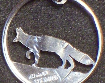 Fox Dime Hand Cut Coin Jewelry