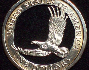 Soaring Eagle Dollar Hand Cut Coin Jewelry