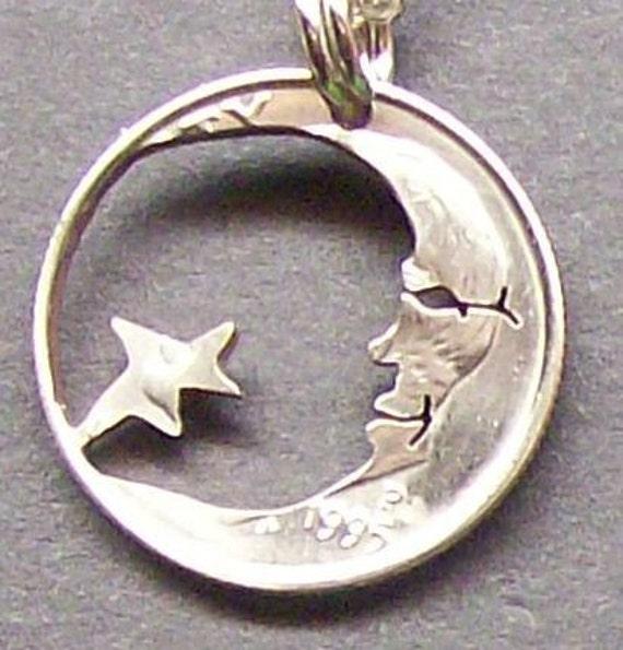 Moon & Stars Dime Hand Cut Coin Jewelry