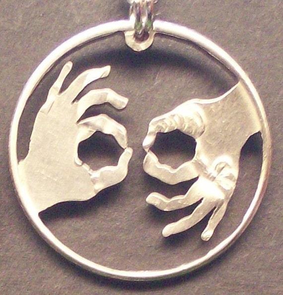 Interpreter ASL Cut Coin Jewelry