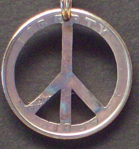 Peace Sign Hand Cut Coin Jewelry