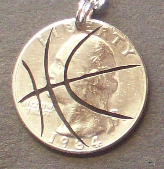 Basketball Quarter Hand Cut Coin Jewelry