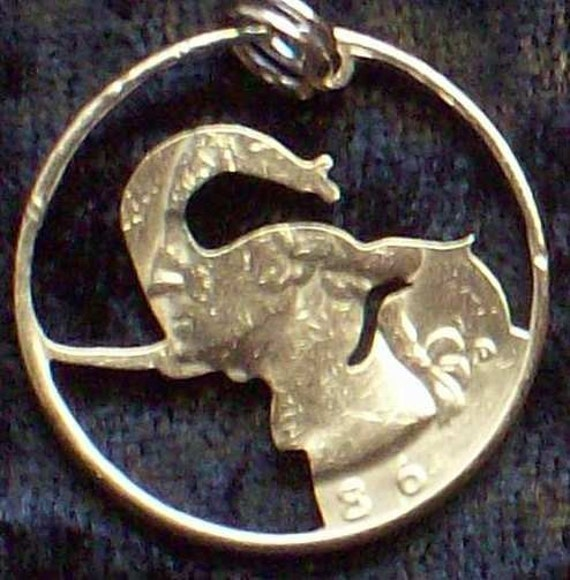 Elephant 3 Hand Cut Coin Jewelry