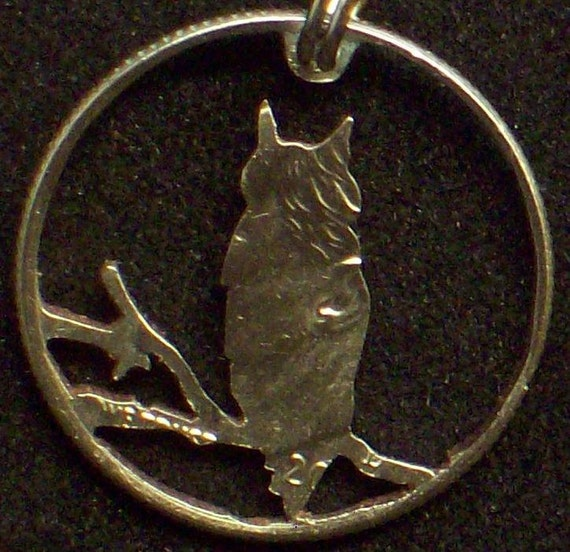 Bird Owl Dime Hand Cut Coin Jewelry