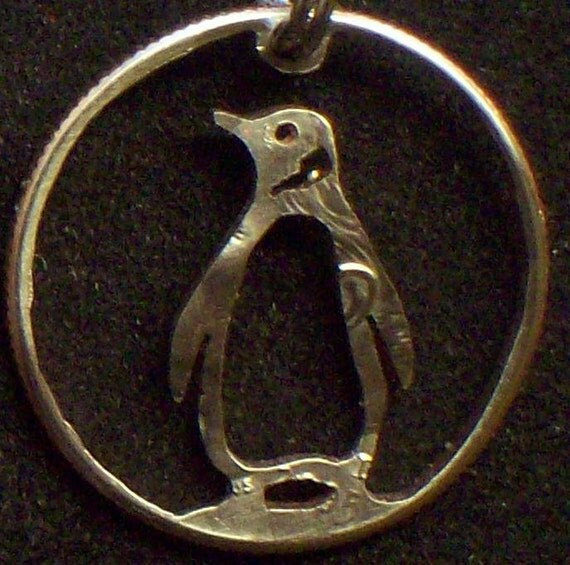 Penguin Dime Hand Cut Coin Jewelry