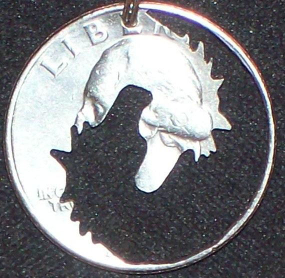Horses Yin Yang Hand Cut Coin Jewelry