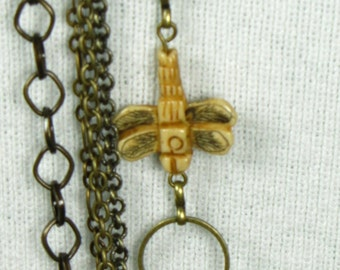 Multi Strand Brass and Bone Necklace