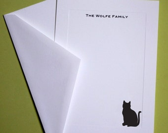 Black Cat Personalized Stationery - Set of 10 flat paneled cards