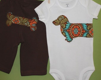 Wiener dog baby one-piece bodysuit and pant set in chocolate and orange