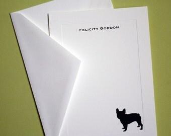 French Bulldog Personalized Stationery - Set of 10 flat paneled cards