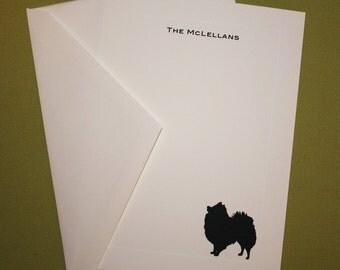 Pomeranian Personalized Stationery - Set of 10 flat paneled cards
