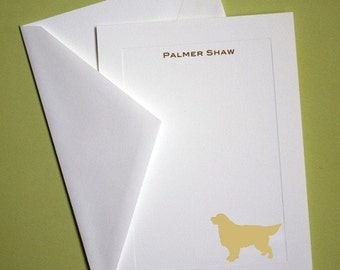 Golden Retriever Personalized Stationery - Set of 10 flat paneled cards