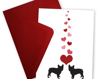 French Bulldogs in Love - Set of 6 Valentine cards personalized with your message
