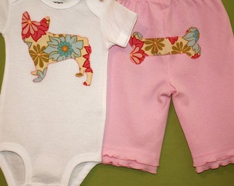 French Bulldog one-piece bodysuit and pant set in pink breeze lei floral print