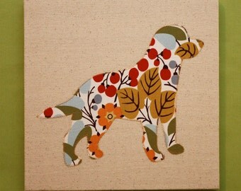 Labrador Retriever appliqued wall panel - 10 x 10 inches