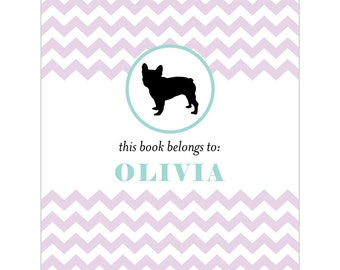 French bulldog bookplates -- Personalized in chevron pattern -- Six color combinations available