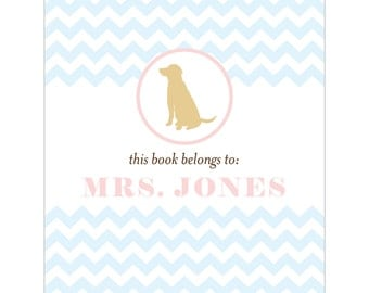 Yellow lab bookplates -- Personalized in chevron pattern -- Six color combinations available