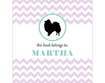 Pomeranian bookplates -- Personalized in chevron pattern -- Six color combinations available