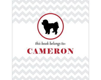 Maltese bookplates -- Personalized in chevron pattern -- Six color combinations available