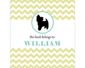 Yorkshire terrier bookplates -- Personalized in chevron pattern -- Six color combinations available