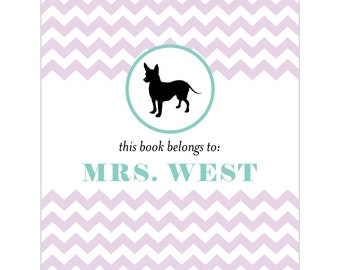 Chihuahua bookplates -- Personalized in chevron pattern -- Six color combinations available