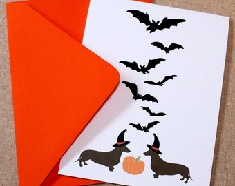 Happy Halloweener - Set of 5 Dachshund greeting cards