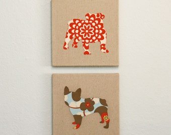 Set of two dog silhouette appliqued wall panels - Any breeds - 10 x 10 inches in red, blue and linen Amy Butler prints